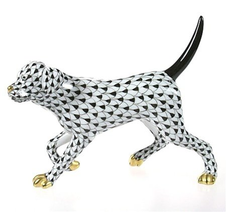 Herend Dog Labrador Retriever Figurine Black Fishnet by Herend