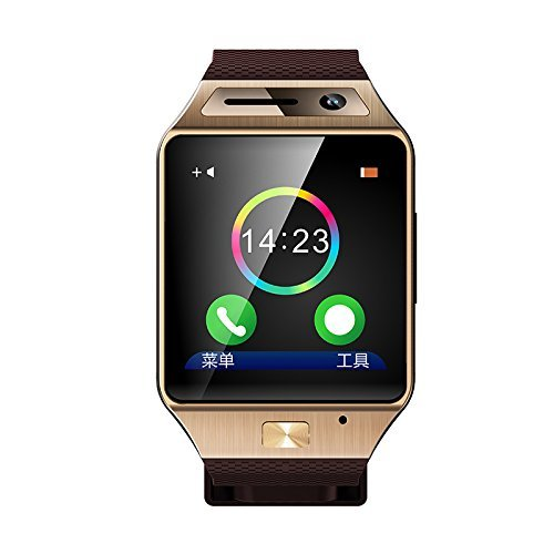 Luxsure GV08S Bluetooth Watch 1.54 Inch Smart Watch Phone Support SIM Card Smartwatch with Camera Wristwatch for Iphone Samsung HTC Lg Android Smartphones(gold)