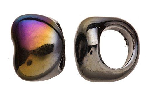 15pcs Spectrum black heart Porcelain Slider Beads for Licorice Leather - Glaze finish 21x17mm Black Licorice Leather Bracelet