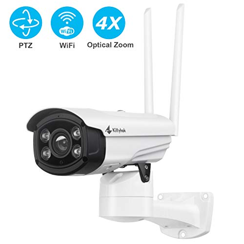 Kittyhok Floodlight PTZ Wireless Security Camera, 1080P 4X Optical Zoom WiFi Camera Outdoor Surveillance Cameras w/ 100ft Color Night Vision, Siren Alarm, 2-Way Audio, Motion Detection, Remote Access