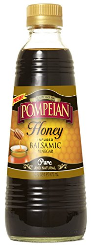 Pompeian Vinegar 16oz Glass Bottle (Pack of 3) Select Flavor Below (Honey Infused Balsamic)