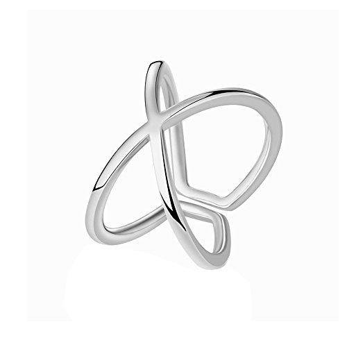 Women Girl Simple X Criss Cross High Polished Open Ring Wrap Finger - Sunglasses Criss Cross