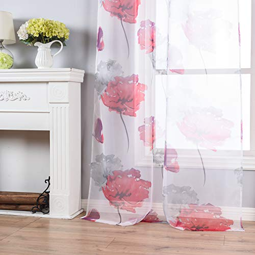 Taisier Home Nursery Sheer Curtains for Bedroom Watercolor Style Small Cute Lotus Leaves Floral Print Window Drapes for Boys and Girls Living Room 63 inch Length 2 Panels Red Flower