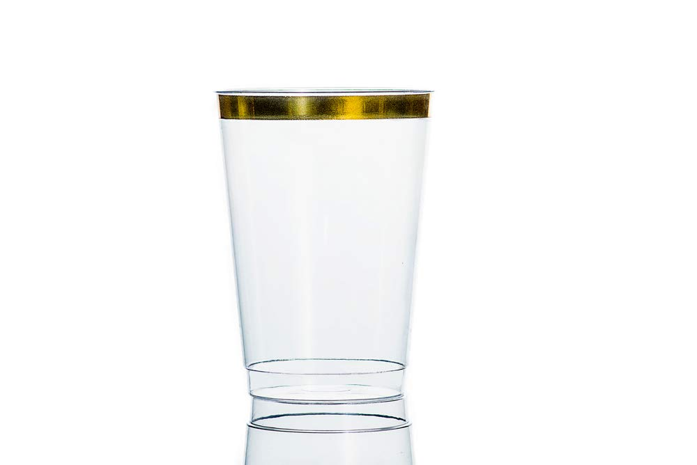 Weddings for Parties Snacks Shop Ree Dessert 12oz Gold Rimmed Plastic Cups 100 Count BPA Free Hard and Clear Disposable Tumblers