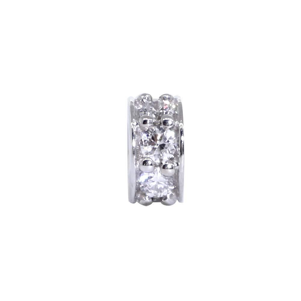 Roundel Pendant 5mm Diamond Spacer 0.12CT in 14k White Gold