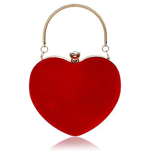 SHELI Dama Forma de Corazón Clutch Bag Messenger Bolso de Hombro Bolso de Noche Pequeño Rojo