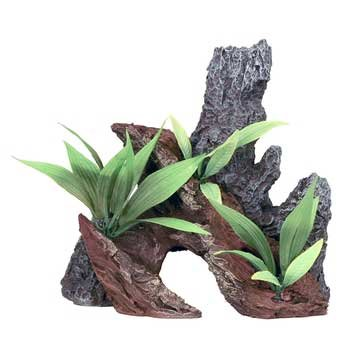 Rock & Driftwood Ourcropping W Plants