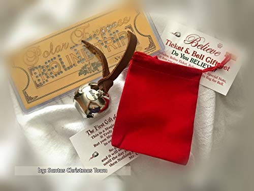 Polar Express BELIEVE Ticket & Bell GIFT SET by SCT~ (Santa Velvet Red Harness)