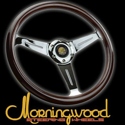 "Morningwood Dark Mahogany Wood Grain Steering Wheel 360Mm/14"" Deep Dish P1 for Honda Accord"
