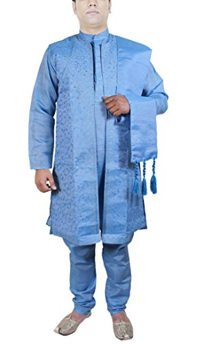 Party Wear 4-PiecesvKurta Pajama Set Men Fashion Dress fo...