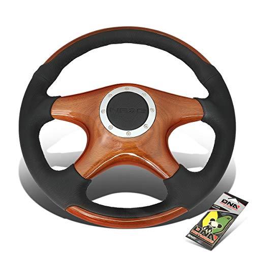 (NRG Innovations ST-085 350mm Wood Grain 4-Spokes Leather Grip Steering Wheel + Air)