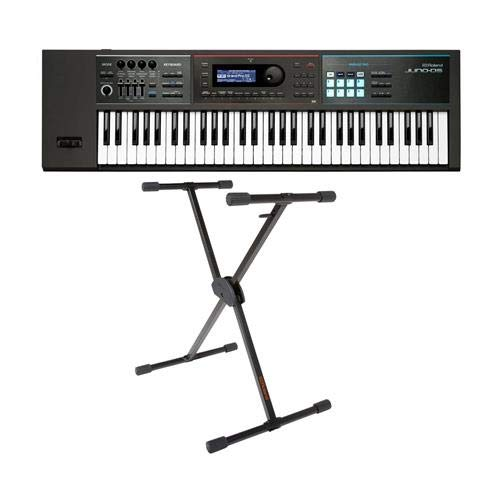 Roland JUNO-DS61 Gig-Ready 61-Note Keys Synthesizer – With Roland KS-10X Single Brace Adjustable X-Style Keyboard Stand