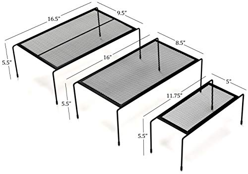 Kitchen Cabinet Organizer Set - Three Shelves, Two Under Shelf Baskets Will Instantly Create Additional Cabinet or Counter Storage Space to Organize Your Dishes, Glasses and Food Items. (5-Piece Set)