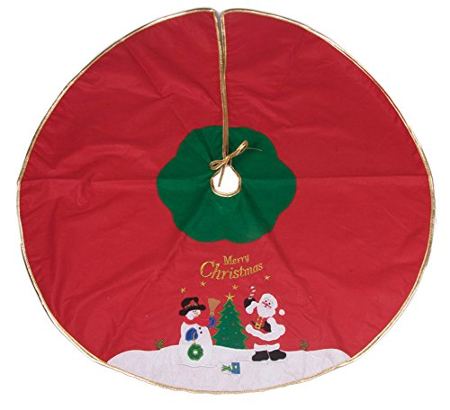 Snowman and Santa Tree Skirt by Clever Creations | Red, and Green with Gold Border | Christmas Tree & Snow Design | Traditional Theme | Helps Contain Needle and Sap Mess on Floor | 40