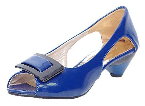 Puro Donna Azzurro Maiale Voguezone009 Di Tacco Sbirciare Basso Pelle 38 Sandali Tirare wqBYqf
