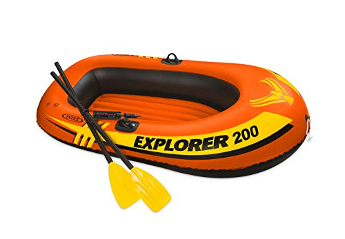 (Intex Explorer 200, 2-Person Inflatable Boat Set with French Oars and Mini Air Pump)