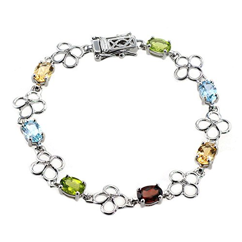 De Buman Genuine Peridot & Natural Multi-colored Gemstones with White Topaz 925 Silver Bracelet (Multi-colored (Multi Colored Topaz Bracelet)