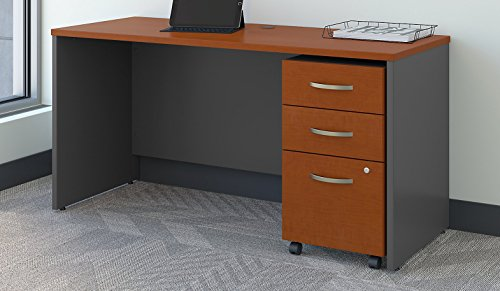 - Bush Business Furniture Series C 60W x 24D Office Desk with Mobile File Cabinet in Auburn Maple
