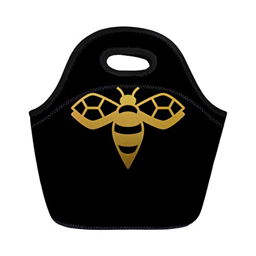 Semtomn Lunch Bags Hexagon Golden Gold Bee on Black Symbol Queen Abstract Neoprene Lunch Bag Lunchbox Tote Bag Portable Picnic Bag Cooler Bag