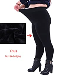 DD.UP Women's Plus Size Winter Warm Thick Pants Thermal Full Length Leggings