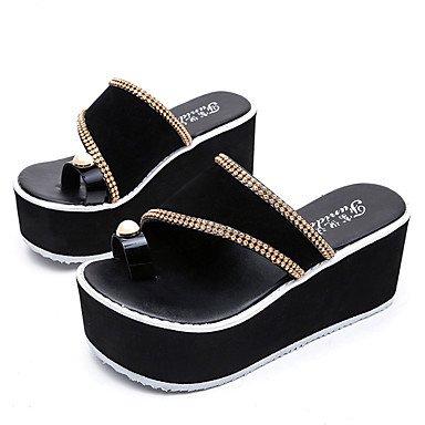 pwne Sandalias Mujer Club Pu Primavera Verano Vestidos Zapatos Casual Talón Plano Negro Beige 3A-3 3/4 Pulg. US6 / EU36 / UK4 / CN36