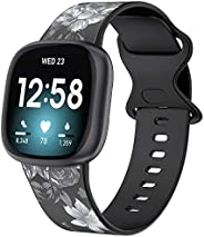 Wearlizer Compatible with Fitbit Versa 3 Bands/Sense Bands Women, Soft Printed Silicone Versa 3 Watch Bands Wa