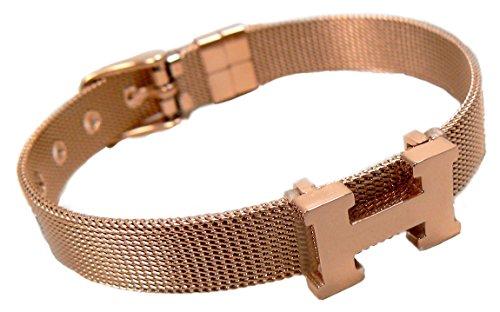 HM0103 H Logo Mesh Bracelet Rose Gold US SELLER - Mesh Rose Bracelet