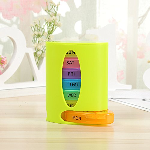 Stackable Tower 7-Day Weekly Pill Organizer Box ¨CChris.W Large Travel Medication Reminder Daily Am PM, Day Night Compartments 7 day¨CMedicine Dispenser Twice, 3, 4 Times a Day(Green) - Day Tower