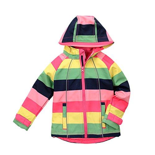 Sweatshirt Fallen Fleece - Hiheart Girls Fleece Jackets Striped Outwear Rainbow Hooded Windproof Jacket 7T