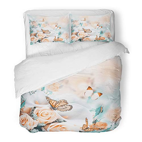 - Emvency 3 Piece Duvet Cover Set Brushed Microfiber Fabric Green Bouquet for The Bride of Yellow Roses and White Calla Lilies Butterfly Breathable Bedding Set with 2 Pillow Covers Full/Queen Size