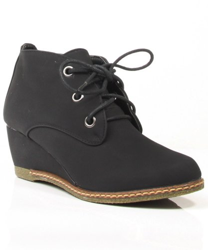 Qupid Olee-01/Nature Breeze Willow-01 Lace Up Wedge Bootie (6)