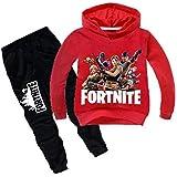 2 Pcs/set Fortnite Autumn Kid Cotton Clothing Set for Children,Including Red Long Sleeve Hoddie and Black Trouser-kk