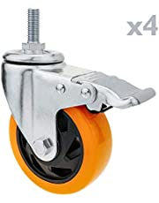 PrimeMatik - Rueda pivotante Industrial de Poliuretano con Freno 100 mm M12 4-Pack