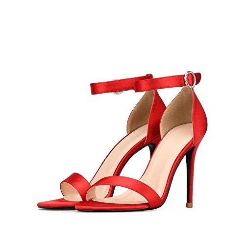 Hæle 10cm Sandaler Kvinder Bryllupsfest Spænde Krystal Røde Bælte Sandaler Juwojia Høje w1tEZqnng
