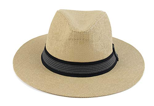 (Melesh Classic Sun Straw Panama Hat (L/XL, Natural-Black Band))