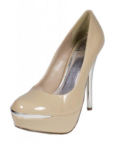 CITY! Delicious Womens Metallic High Heel Platform Dress Pumps in Dark Beige Patent GOqwyDOtl