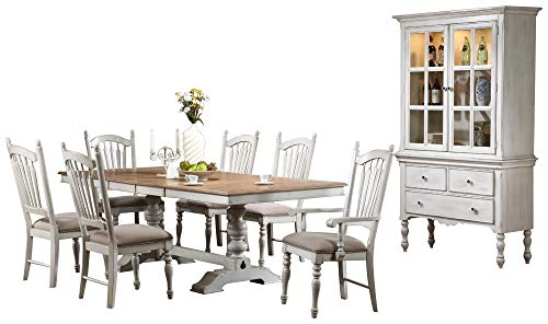 ountry 10PC Dining Set Table, 2 Arm Chair, 6 Side Chair, Buffet & Hutch in White ()