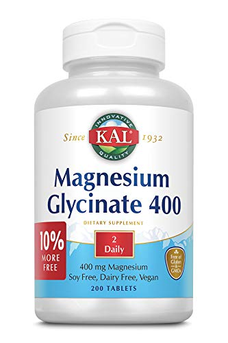(KAL® Magnesium Glycinate 400 mg | Vegan, Chelated, Non-GMO, Soy, Dairy, and Gluten Free | Extra Value Size | 100 Servings | 200)
