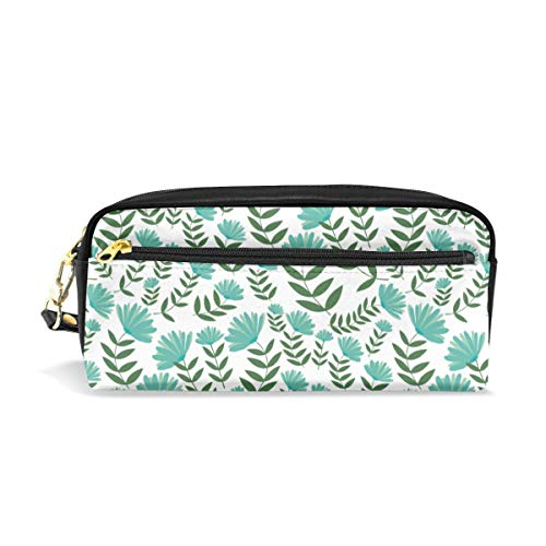 SITU Design+surface+pattern+flowers+teal+green+nonna+design+illustration School Students Pencil Case Pen Bag Women Case Makeup Cosmetic -