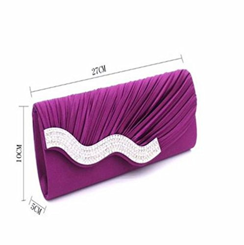 Pleated Nodykka Bag �� Cross Wedding Handbags Embellished Evening Clutches Purple Body Purse Rhinestone 4541Pqw