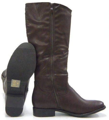Braun Fell gefüttert Winterstiefel LEICHT Kunst Stiefel Boots cz4wYqp6d
