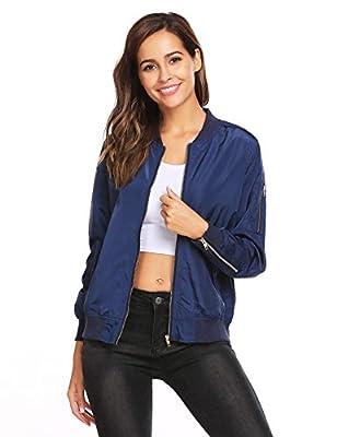 Beyove Women Long Sleeve Quilted Zip Up Jacket Short Bomber Jacket