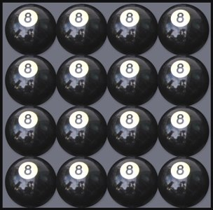 Box of 16 Replacement # 8 Pool Table - Billiard Ball