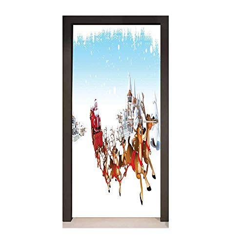 Santa 3D Door Wallpaper Christmas Ride on a Sleigh Cartoon Deer with Jingle Bells Winter Time for Home Room Decoration Caramel Red Pale Blue,W17.1xH78.7