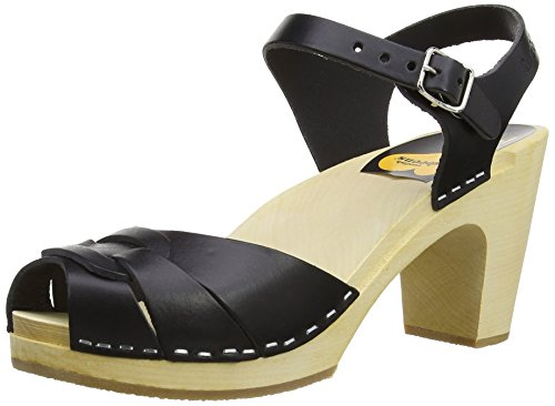 Swedish Hasbeens Peep Toe Super High - Zuecos Black (Black/Nature Sole)