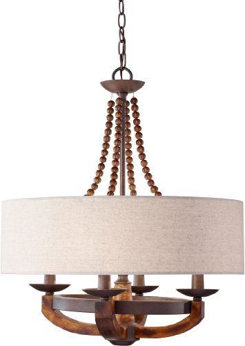 Feiss F2752/4RI/BWD, Adan Candle Chandelier Lighting, 4 Light, 240 Watts, Rustic Iron / Wood