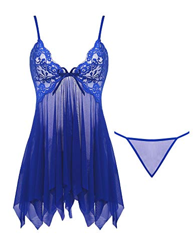 Joyaria Women's V Neck Lace Lingerie Sexy Mesh Babydoll Outfits Sheer Nighties (Royal Blue,XL)