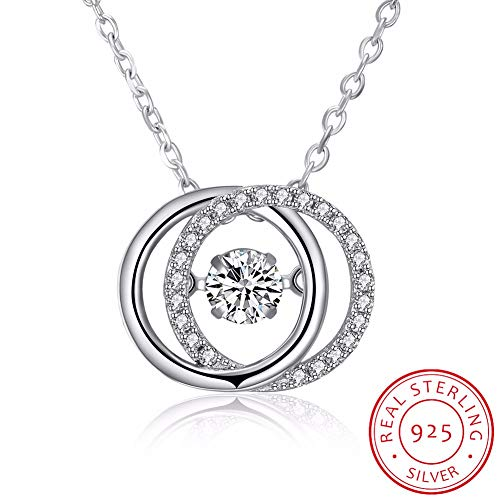 GYXYZB S925 Sterling Silver Interlocking Large and Small Double Circle Round Pendant Necklace Chain Circle of Life for Women