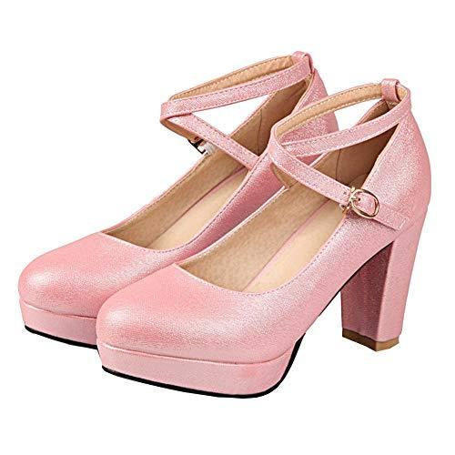 Lacets Hauts Boucle Avec Talons Peep Rose Ankle Strap Decollate Chaussures À Élégante Vitalo Femme Serrure Plateforme À Toe ZPpxa7