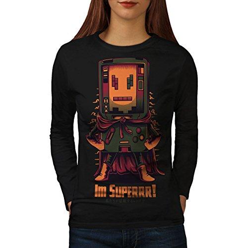 wellcoda Super Hero Console Womens Long Sleeve T-Shirt, Boy Cool Graphic DesignBlack -